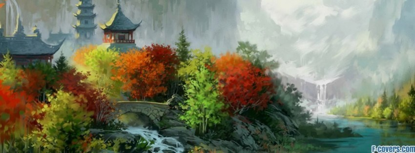 japanese art landscape autumn facebook cover