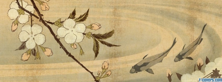 japanese art pond with fish facebook cover