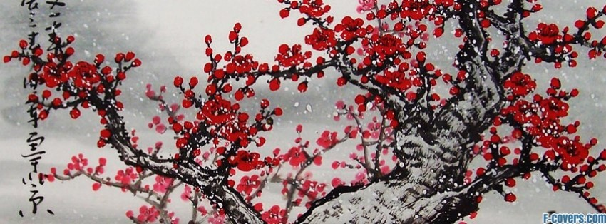 japanese art red tree facebook cover
