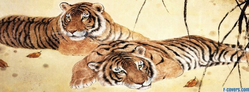 japanese art tigers facebook cover