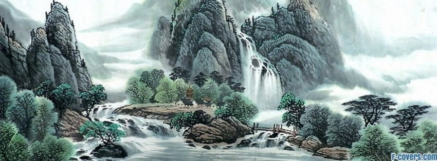 japanese art waterfall painting facebook cover