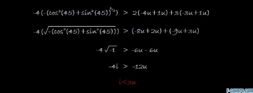 math i love you formula facebook cover