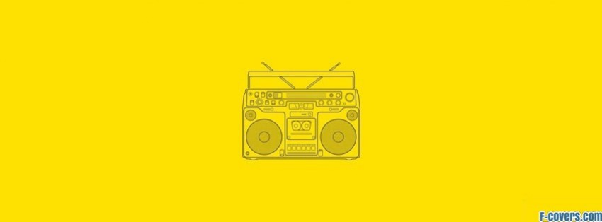 music yellow vintage vector boom box facebook cover