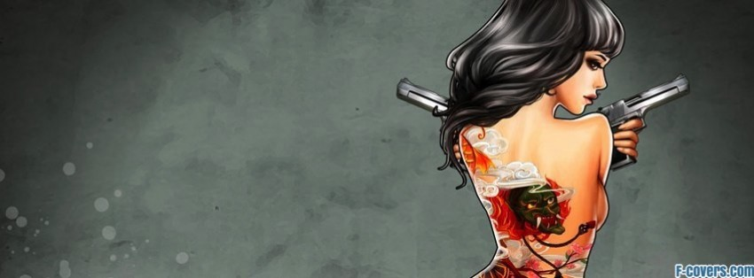 naked tattoo gun girl facebook cover