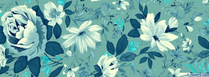 painted flowers blue facebook cover