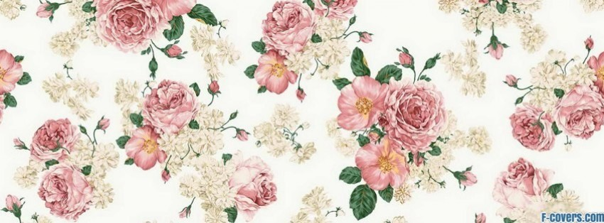 pink rose floral pattern facebook cover