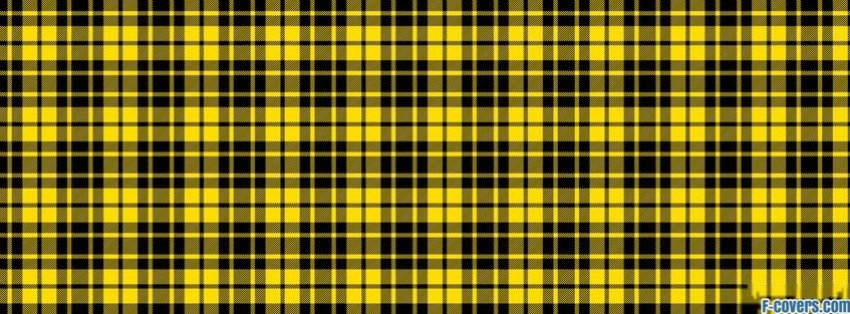 Plaid Texture Pattern Yellow And Black Facebook Cover Timeline