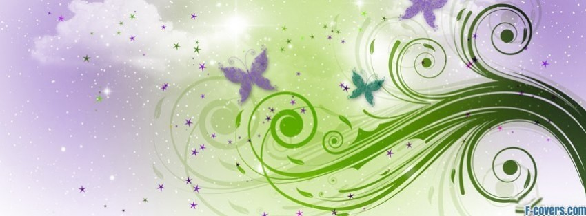purple and green floral swirl pattern facebook cover