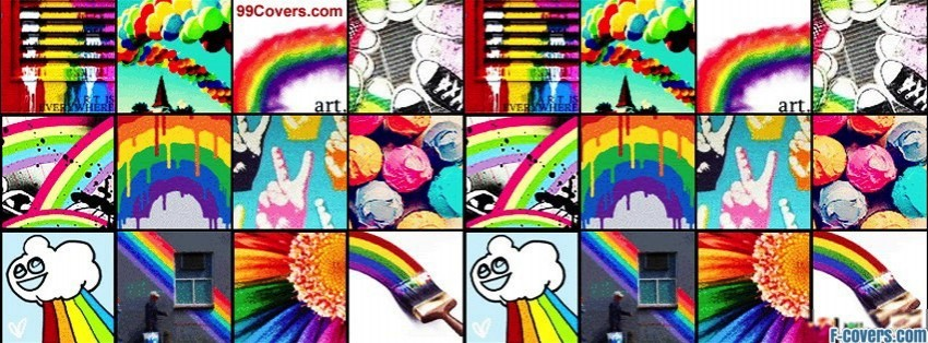 rainbow collage facebook cover