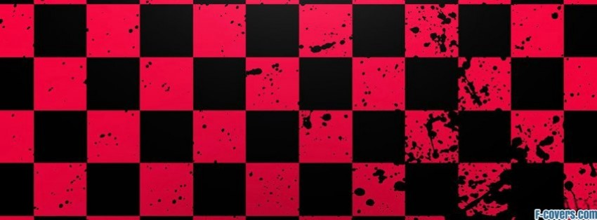 red and black splater checkered pattern facebook cover