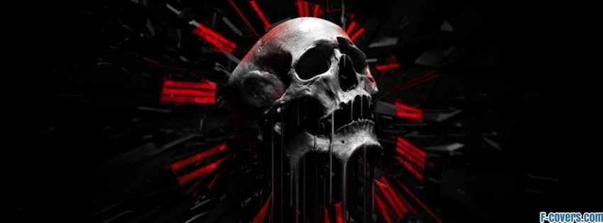 red black white abstract skull facebook cover