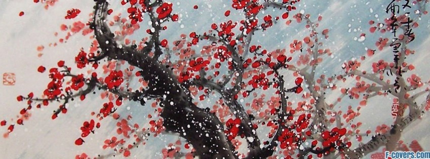 red blossoms japanese art facebook cover