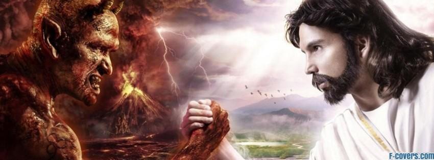satan jesus arm wrestle facebook cover