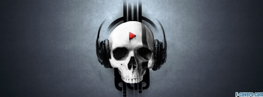 skull with headphones facebook cover
