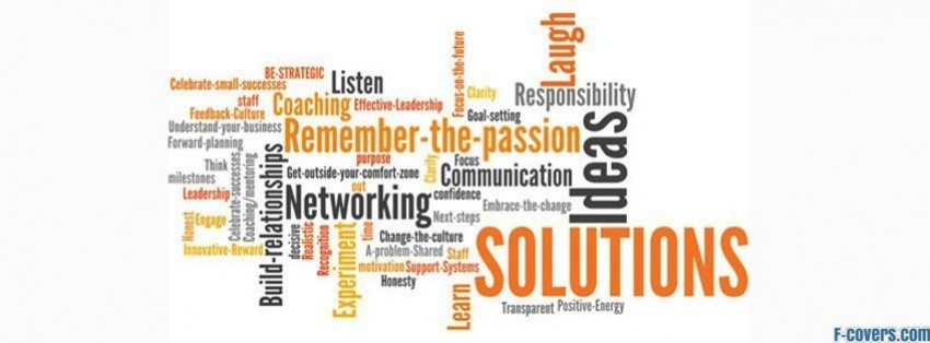 solutions text facebook cover