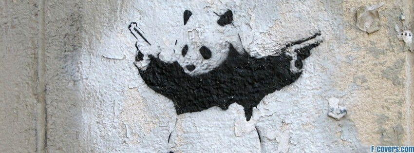 street art panda holding guns facebook cover