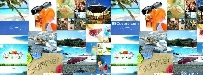 summer beach collage facebook cover
