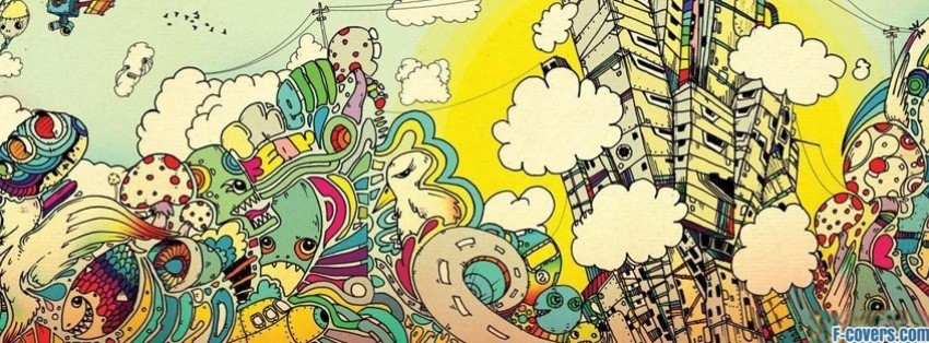 trippy world doodles facebook cover