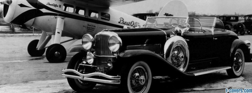 vintage car and plane black and white facebook cover