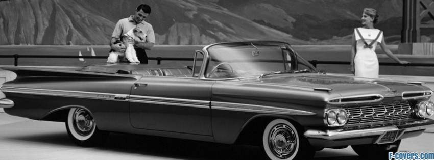 Vintage Car Black And White Facebook Cover