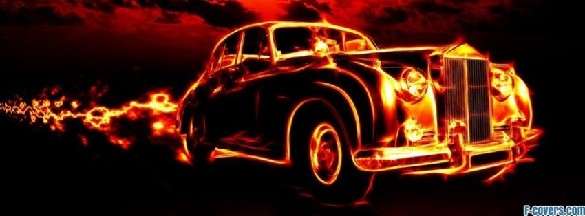 Vintage Car Fire Rolls Royce Silver Cloud Facebook Cover