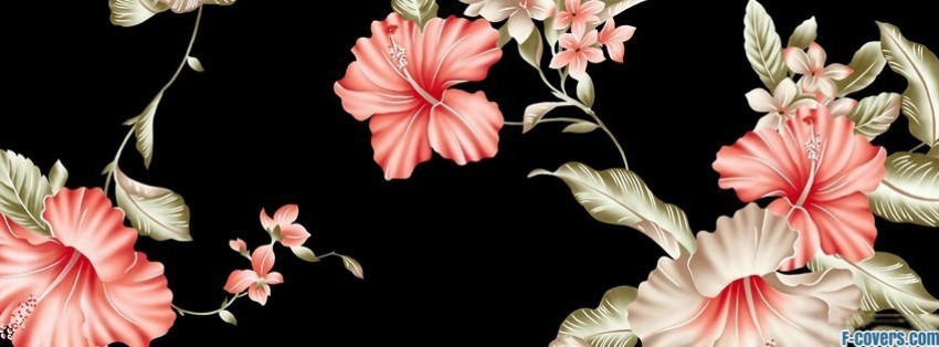 wallpaper floral pink black facebook cover
